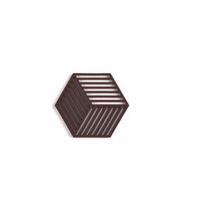 Červenohnědá silikonová podložka pod hrnec Zone Hexagon