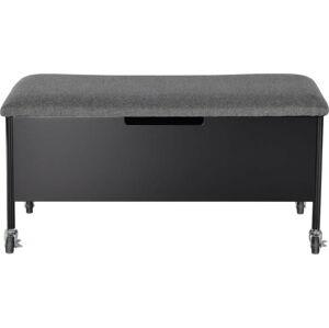 Černá úložná lavice na kolečkách RGE Sture, 90x40cm
