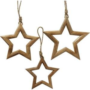 Sada 3 vánočních závěsných dekorací z mangového dřeva Boltze Taliz