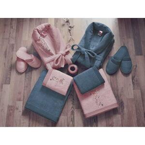Set dámského a pánského županu, ručníků, osušek a 2 párů pantoflí v růžové a modré barvě Family Bath
