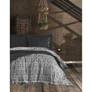 Antracitový bavlněný prošívaný přehoz na dvoulůžko EnLora Home Nish Anthracite, 240 x 260 cm
