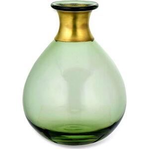 Zelená skleněná váza Nkuku Miza, výška 16,5 cm