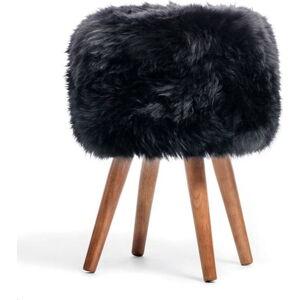 Stolička s černým sedákem z ovčí kožešiny Royal Dream, ⌀30cm