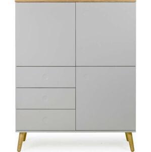 Šedá třídveřová skříň s nohami z dubového dřeva se 3 zásuvkami Tenzo Dot, výška 137 cm