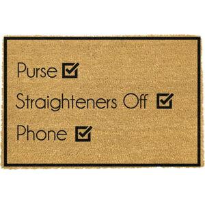 Rohožka z přírodního kokosového vlákna Artsy Doormats Purse Straighteners Phone40x60cm