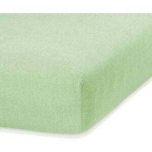 Světle zelené elastické prostěradlo s vysokým podílem bavlny AmeliaHome Ruby, 140/160 x 200 cm