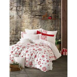 Povlečení s prostěradlem na dvoulůžko z ranforce bavlny Cotton Box Snowflake Red, 200 x 220 cm