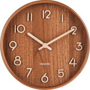 Hnědé nástěnné hodiny z lipového dřeva Karlsson Pure Small, ø 22cm