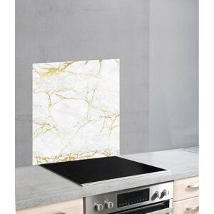 Skleněný kryt na zeď u sporáku v bílo-zlaté barvě Wenko Marble,70x60cm