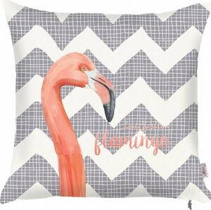 Šedý povlak na polštář Apolena Zigzag Flamingo, 43x43cm