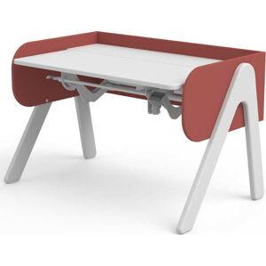 Červeno-bílý psací stůl z borovicového dřeva s nastavitelnou výškou Flexa Woody