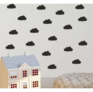 Sada černých samolepek na zeď North Carolina Scandinavian Home Decors Cloudy