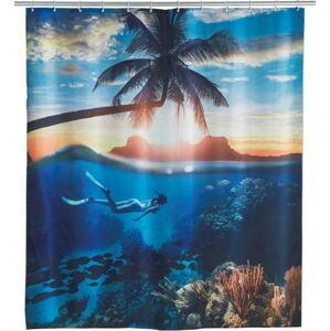 Modrý sprchový závěs Wenko Paradise, 180x200cm