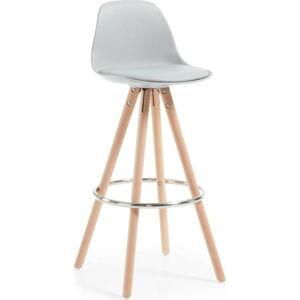 Šedá barová židle s dřevěným podnožím La Forma Stag