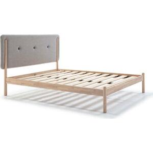Dřevěná postel s šedým čelem Marckeric Annie,140x190cm