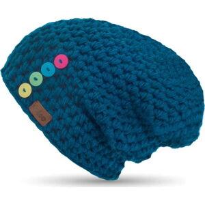 Modrá ručně háčkovaná čepice s knoflíky DOKE Mila