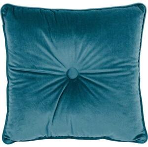 Tyrkysový polštář Tiseco Home Studio Velvet Button, 45x45cm