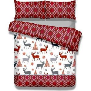 Flanelové povlečení najednolůžko AmeliaHome Winter Reindeer, 135x200cm