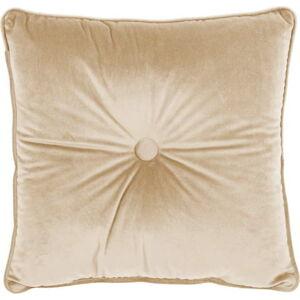 Světle béžový polštář Tiseco Home Studio Velvet Button, 45x45cm