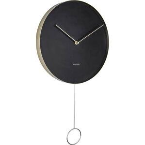 Černé nástěnné kyvadlové hodiny Karlsson Pendulum,ø34cm
