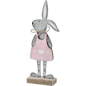 Šedá dekorace na podstavci králík v růžových šatech Ego Dekor, 25,5 x 9 x 4 cm