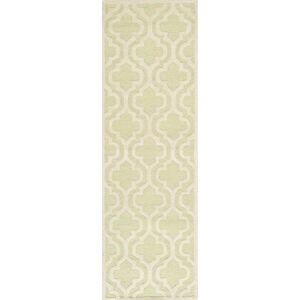 Zeleno-bílý vlněný koberec Safavieh Lola, 76 x 243 cm