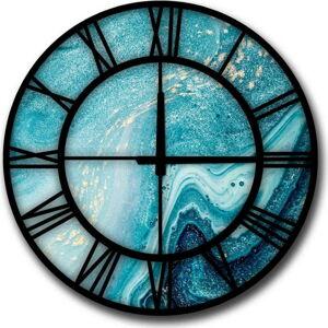 Modré nástěnné hodiny HomeArt Glamour,ø50cm