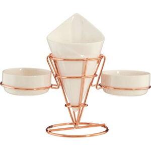 Porcelánový stojánek na hranolky a omáčky v měděné barvě Premier Housewares Posh Hollywood