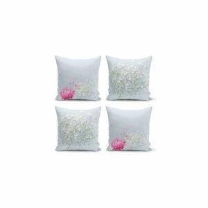 Sada 4 dekorativních povlaků na polštáře Minimalist Cushion Covers Soft Flowers,45x45cm