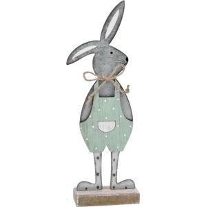 Šedá dekorace na podstavci králík v zelených kalhotách Ego Dekor, 25,5 x 9 x 4 cm