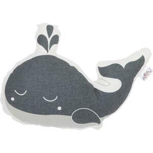 Šedý dětský polštářek s příměsí bavlny Apolena Pillow Toy Whale, 35 x 24 cm