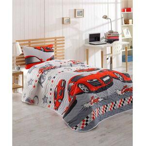 Set přehozu přes postel a povlaku na polštář s příměsí bavlny Eponj Home Crazy Red, 160 x 220 cm