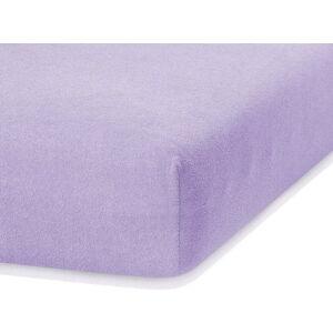 Světle fialové elastické prostěradlo s vysokým podílem bavlny AmeliaHome Ruby, 80/90 x 200 cm