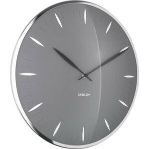 Šedé skleněné nástěnné hodiny Karlsson Leaf,ø40cm