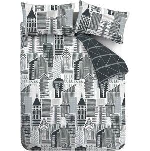 Černo-šedé povlečení Catherine Lansfield Citylife, 135 x 200 cm