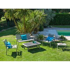 Set šedého zahradního stolku, křesel, lavice a podnožky Ezeis Spring Lounge