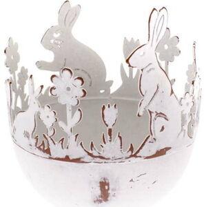 Kovový dekorativní držák na vajíčka s králíkem Dakls