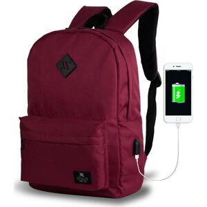 Tmavě vínový batoh s USB portem My Valice SPECTA Smart Bag
