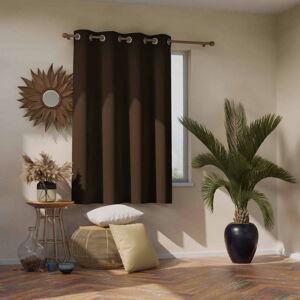 Tmavě hnědý zatemňovací závěs AmeliaHome Eyelets Dark Brown, 140 x 245 cm