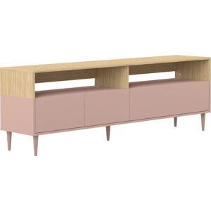 Růžový TV stolek v dekoru dubového dřeva TemaHome Horizon