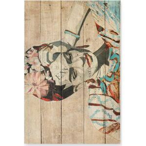 Nástěnná cedule z borovicového dřeva Madre Selva Collage of Frida, 40 x 60 cm
