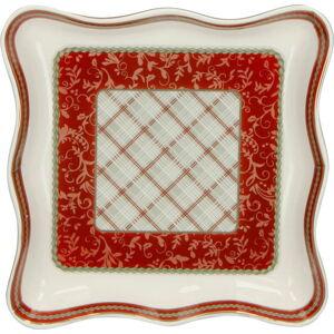 Porcelánový servírovací talíř s vánočním motivem Brandani Vuotatasche, délka 16,5 cm