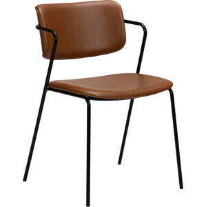 Hnědá židle z imitace kůže DAN-FORM Denmark Zed