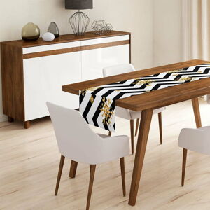 Běhoun na stůl Minimalist Cushion Covers Colorful White Zigzag,45x140cm