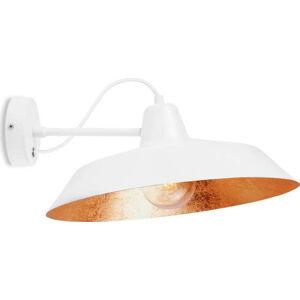Bílé nástěnné svítidlo s detailem v měděné barvě Bulb Attack Cinco Basic, ⌀40 cm