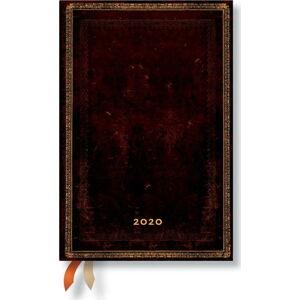 Hnědý diář na rok 2020 v tvrdé vazbě Paperblanks Black Morrocan, 160stran