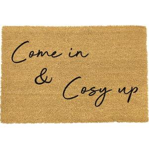 Černá rohožka z přírodního kokosového vlákna Artsy Doormats Come In & Cosy Up,40x60cm