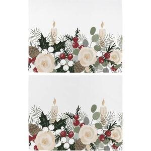 Sada 2 bavlněných prostírání s vánočním motivem Butter Kings Fir Branches,45x35cm