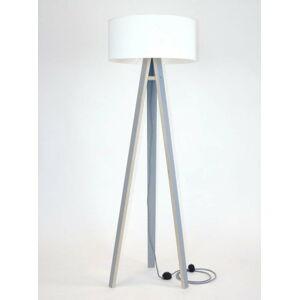 Šedá stojací lampa s bílým stínítkem a černo-bílým kabelem Ragaba Wanda