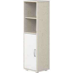 Bílá dětská skříňka s lakovanými dvířky z borovicového dřeva Flexa Classic, výška 133 cm